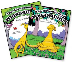 Yogasaurus children's book and coloring book by Kenneth Duncan